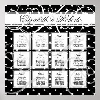 Carta del asiento del boda de la huésped de 12 cua póster