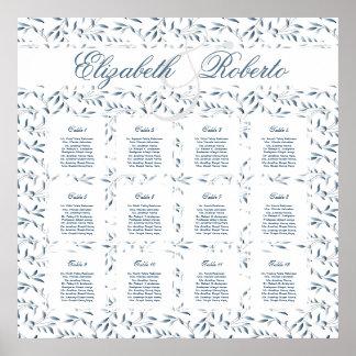 Carta del asiento del boda de la huésped de 12 póster