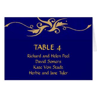 Carta del asiento del boda del azul y del oro tarjeton