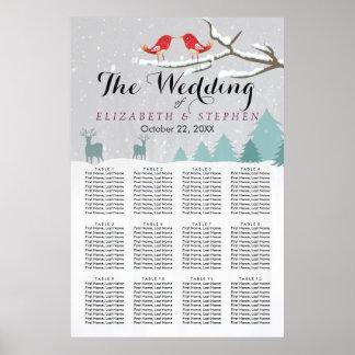 Carta del asiento del boda del invierno de los póster