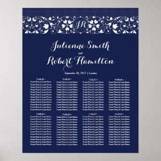 Carta del asiento del boda del monograma del amor póster