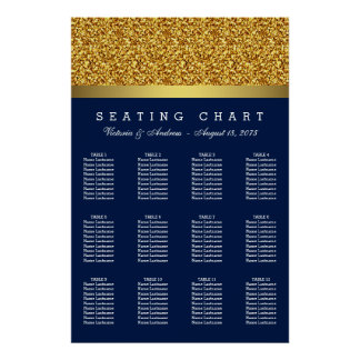 Carta del asiento del boda del oro del azul real póster