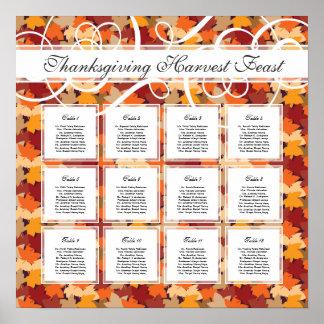 Carta del asiento del boda del otoño/de la cena de posters