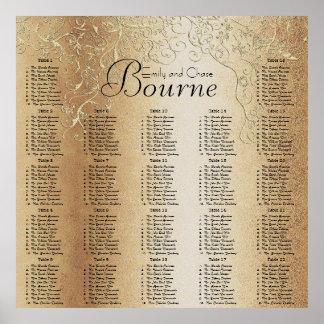 Carta del asiento del boda del remolino del oro póster