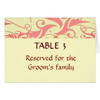 Carta del asiento del lugar del boda del vintage tarjeta pequeña