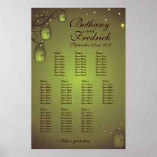 Carta del asiento del tarro de albañil en pistacho poster