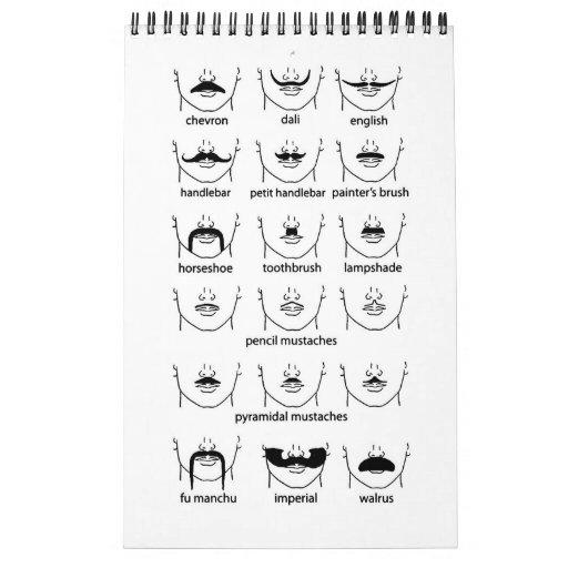 Carta del bigote calendario de pared