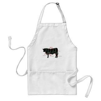 ¡Carta del carnicero de la carne de vaca - carne d Delantal