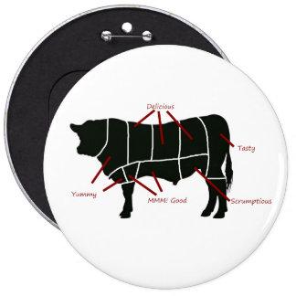 ¡Carta del carnicero de la carne de vaca - carne d Pin Redondo De 6 Pulgadas
