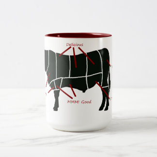 ¡Carta del carnicero de la carne de vaca - carne Taza De Dos Tonos