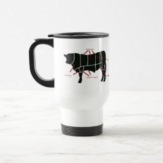¡Carta del carnicero de la carne de vaca - carne Taza Térmica