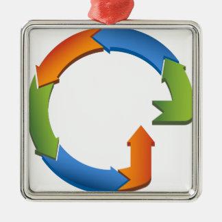 Carta del ciclo del proceso de negocio de la adorno cuadrado plateado