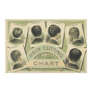 Carta del corte del pelo del vintage (1884) lona estirada galerías