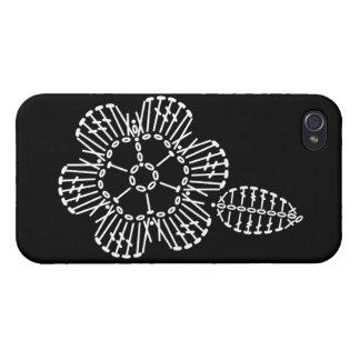 Carta del ganchillo de la flor y de la hoja (negro iPhone 4 fundas