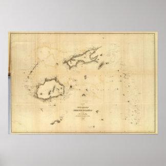 Carta del grupo de Viti o de las Islas Fiji Póster