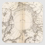 Carta del hielo boreal pegatina cuadrada