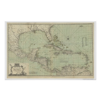 Carta del mapa de las Antillas - 1774 Poster