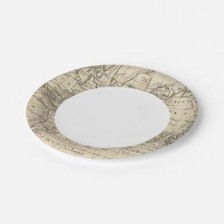 Carta del mundo plato de papel de 7 pulgadas