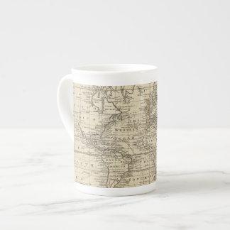 Carta del mundo taza de porcelana