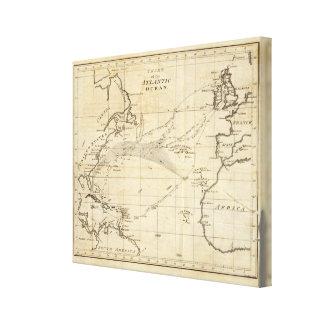 Carta del Océano Atlántico 2 Impresión En Lienzo Estirada