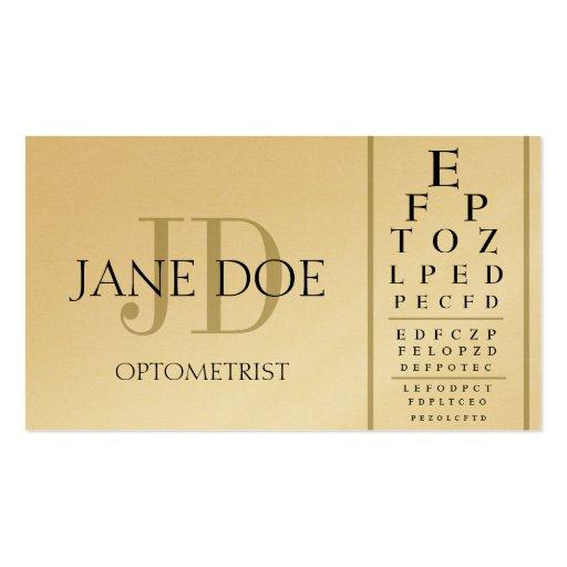 Carta del optometrista de oro tarjetas de visita