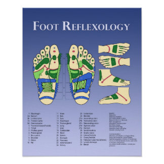 Carta del Reflexology del pie - azul Poster