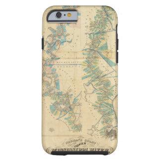 Carta del río Misisipi más bajo Funda Para iPhone 6 Tough