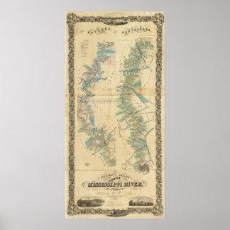 Carta del río Misisipi más bajo Poster