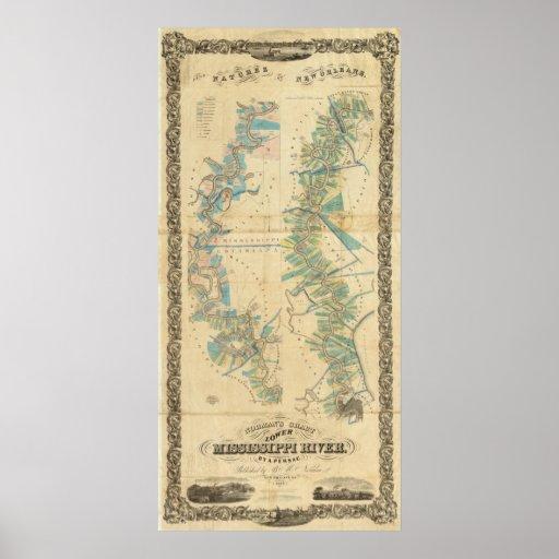 Carta del río Misisipi más bajo Póster