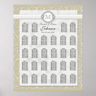 Carta, diamantes y cordón del asiento de la tabla  poster
