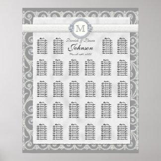 Carta, diamantes y cordón del asiento de la tabla  póster