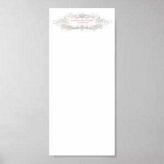 Carta elegante 4x9 del asiento del boda del vintag impresiones