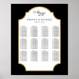 Carta elegante del asiento del boda del oro del póster