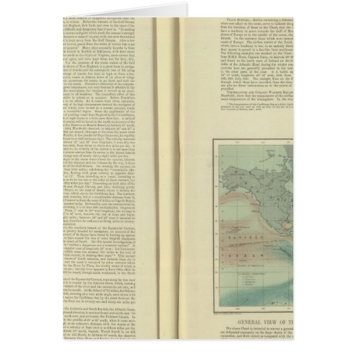 Carta física del Océano Atlántico continuo Tarjeta De Felicitación