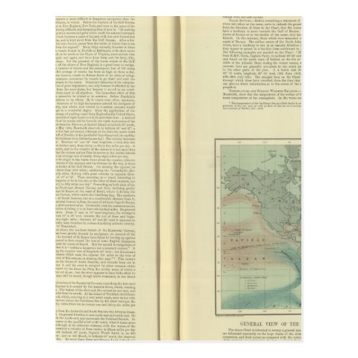 Carta física del Océano Atlántico continuo Tarjetas Postales