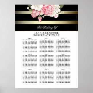 Carta floral blanco y negro del asiento del boda póster