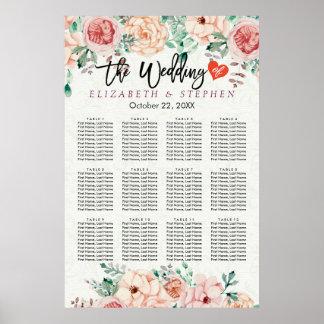 Carta floral botánica del asiento del boda de la póster