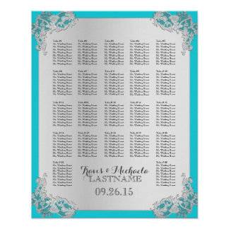 Carta floral de plata del asiento del boda póster