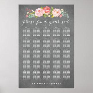Carta floral del asiento del boda de la rosaleda póster