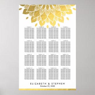 Carta floral del asiento del boda del oro elegante póster