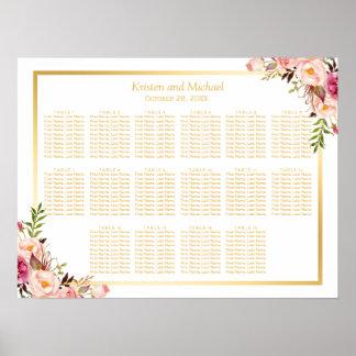 Carta floral elegante del asiento del boda del oro póster