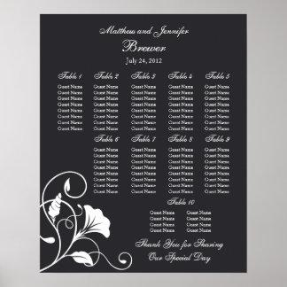 Carta floral negra del asiento de la recepción nup impresiones