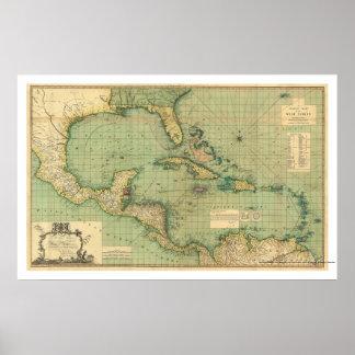 Carta general de las Antillas por Speer 1796 Póster