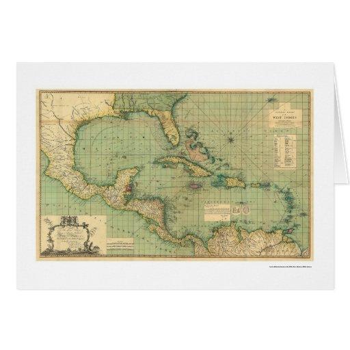 Carta general de las Antillas por Speer 1796 Tarjetón