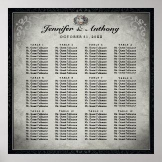 Carta gris del asiento de los esqueletos del boda póster