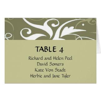 Carta gris verde oliva del asiento del lugar del tarjeta pequeña