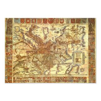 Carta Itineraria Europae by Waldseemüller 1520 Custom Invitation