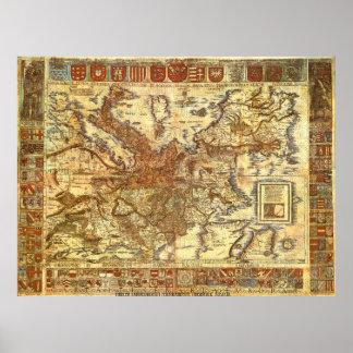 Carta Itineraria Europae por Waldseemüller 1520 Posters