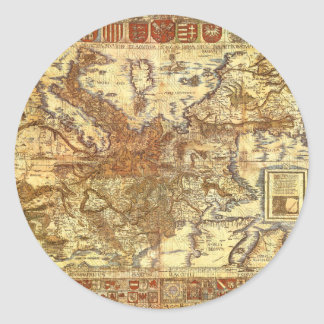 Carta Itineraria Europae por Waldseemüller 1520 Pegatina Redonda