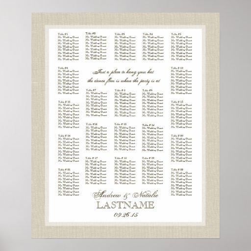 Carta ligera del asiento del boda de la arpillera poster
